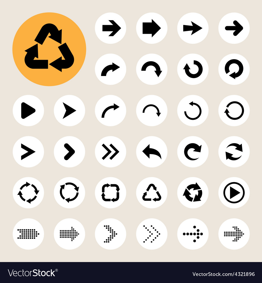 Basic arrow sign icons set vector | Price: 1 Credit (USD $1)