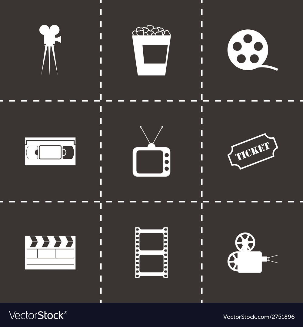 Black cinema icons set vector | Price: 1 Credit (USD $1)