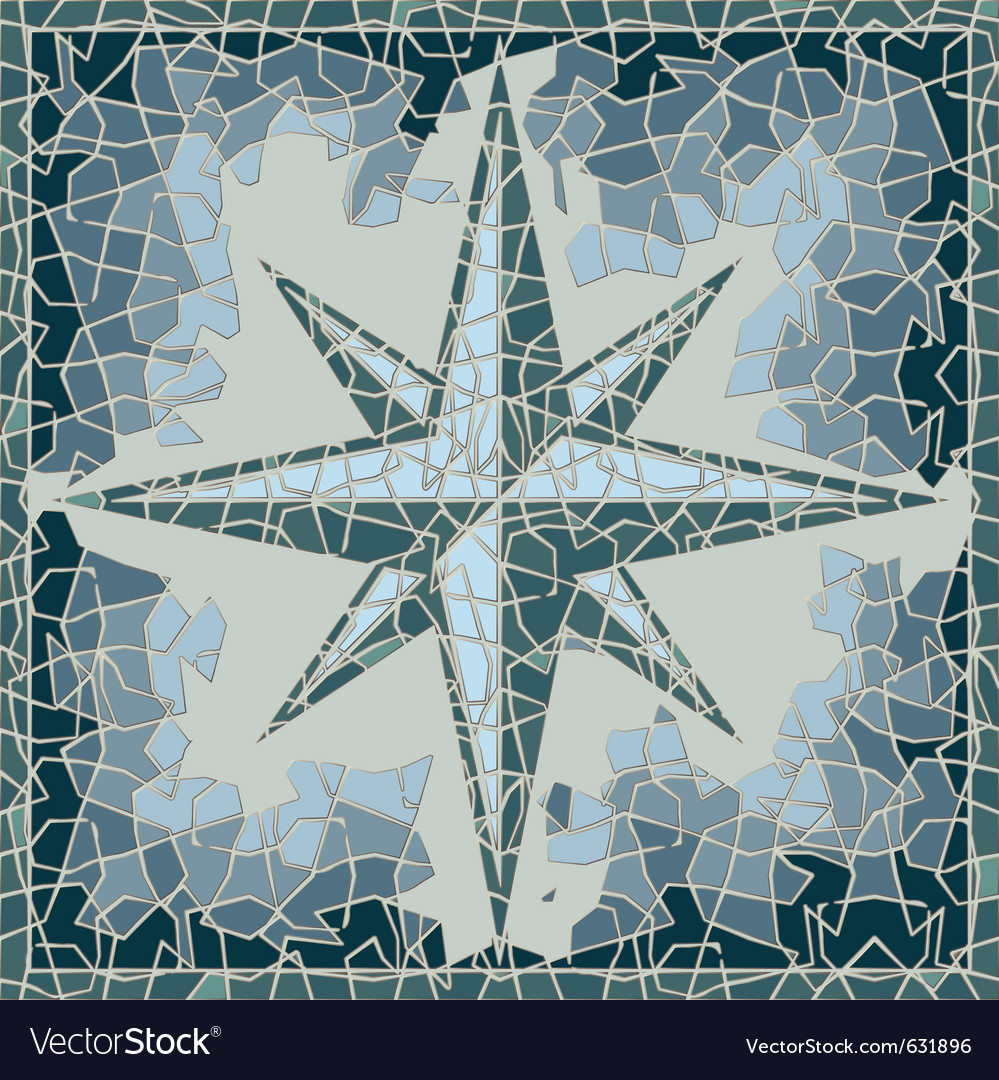 Cracked colored fresco with wind-rose vector | Price: 1 Credit (USD $1)