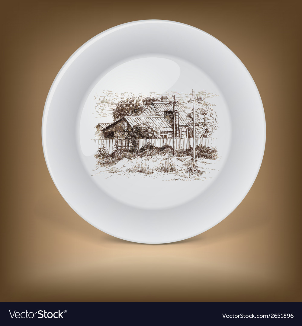 Decorative plate with image of farmhouse vector | Price: 1 Credit (USD $1)