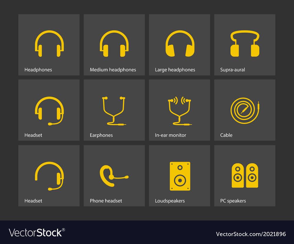 Earphones icons vector | Price: 1 Credit (USD $1)