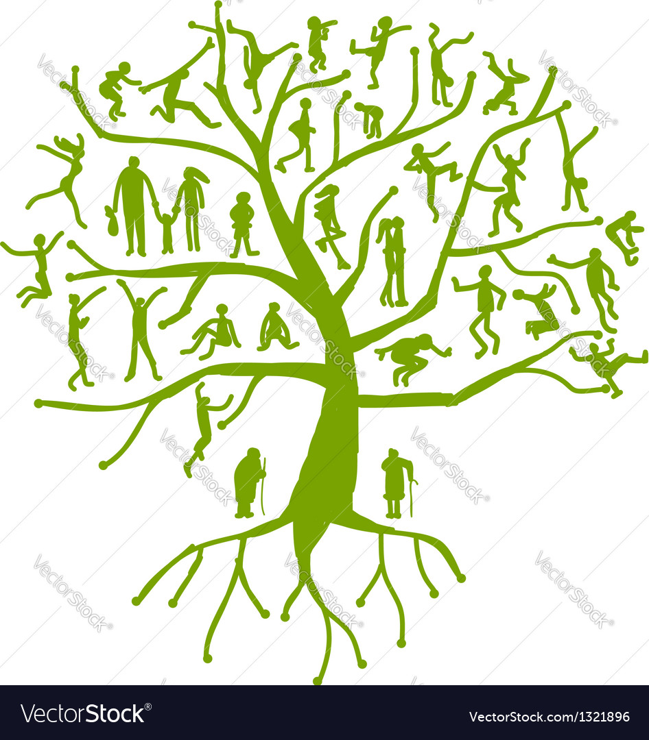 Family tree relatives people silhouettes vector   Price: 1 Credit (USD $1)