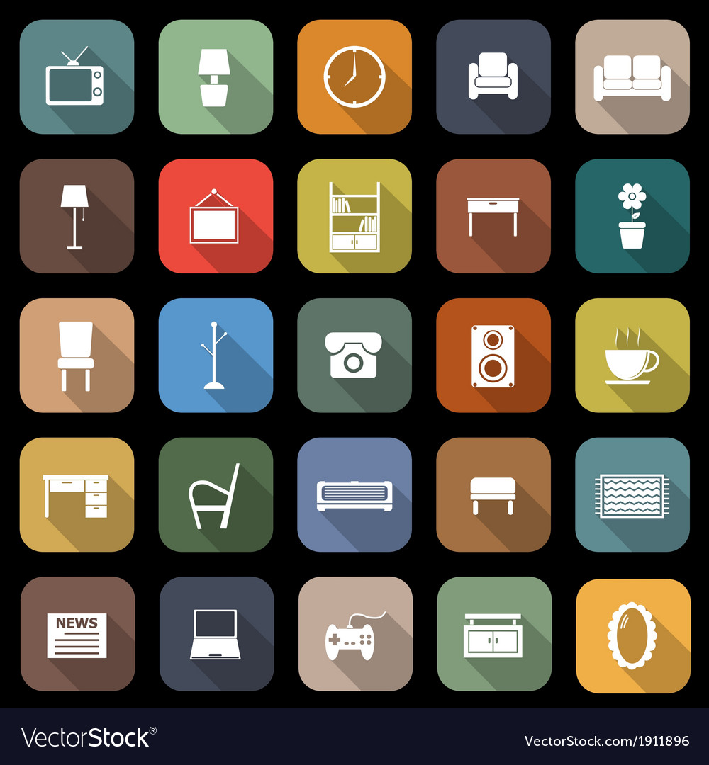 Living room flat icons with long shadow vector | Price: 1 Credit (USD $1)