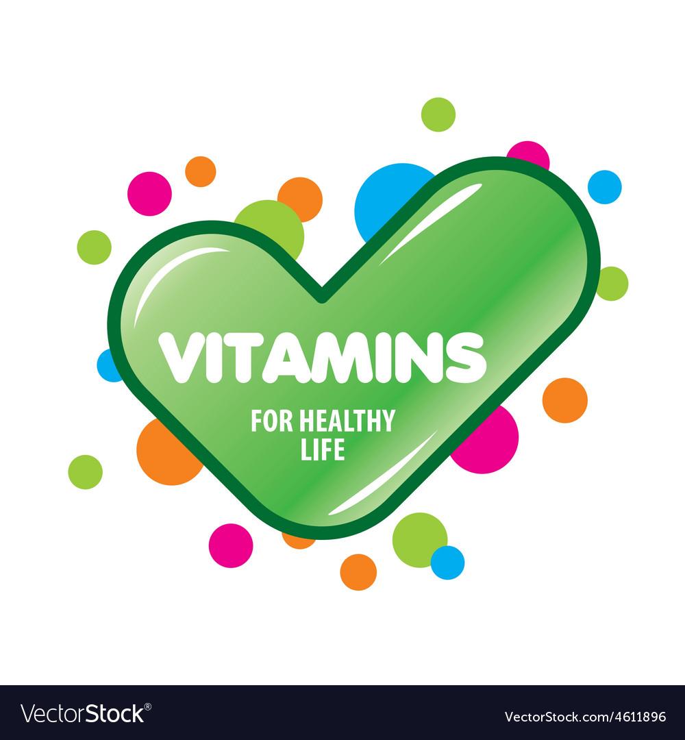 Logo green check mark vitamins vector | Price: 1 Credit (USD $1)
