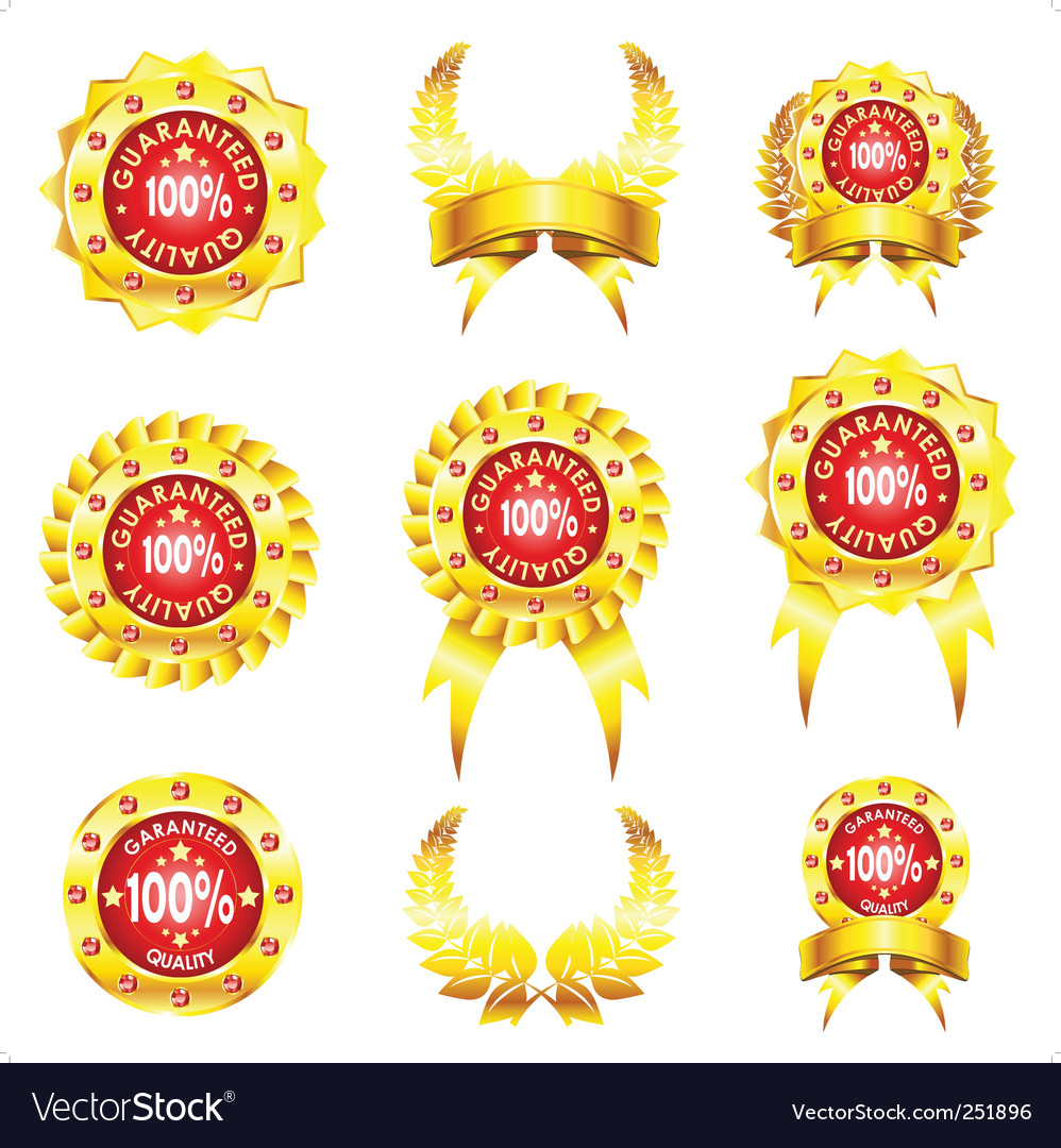 Set of golden badges on white background vector | Price: 1 Credit (USD $1)