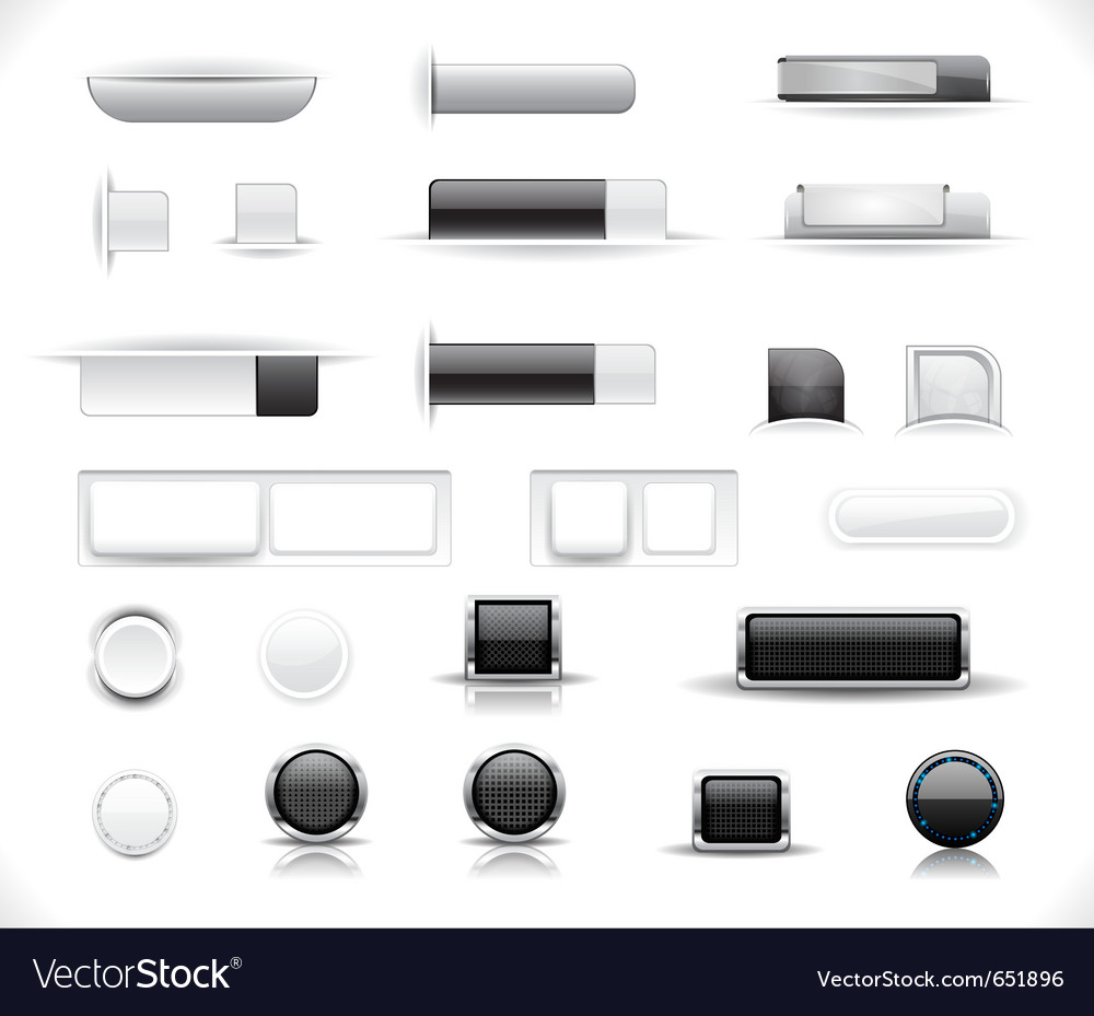 Set of grey web buttons vector | Price: 1 Credit (USD $1)