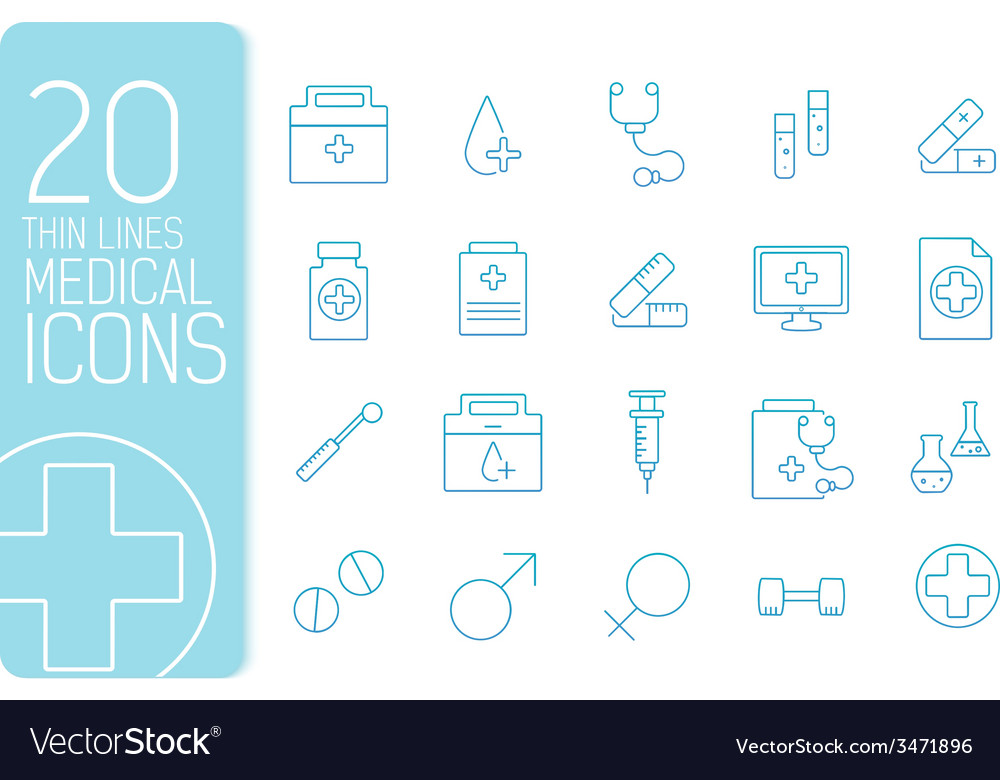 Thin line medical set icons concept design vector | Price: 1 Credit (USD $1)