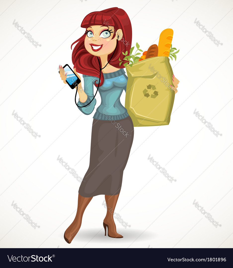 Woman with the health food package and phone on vector | Price: 3 Credit (USD $3)