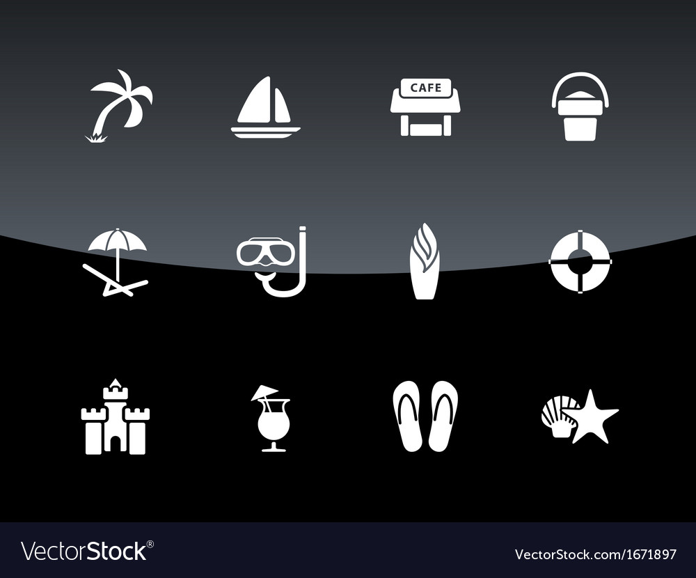 Beach icons on black background vector | Price: 1 Credit (USD $1)