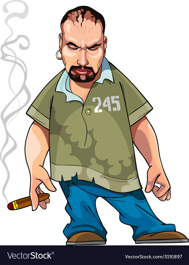 Cartoon gangster gloomy man with a cigar vector | Price: 1 Credit (USD $1)
