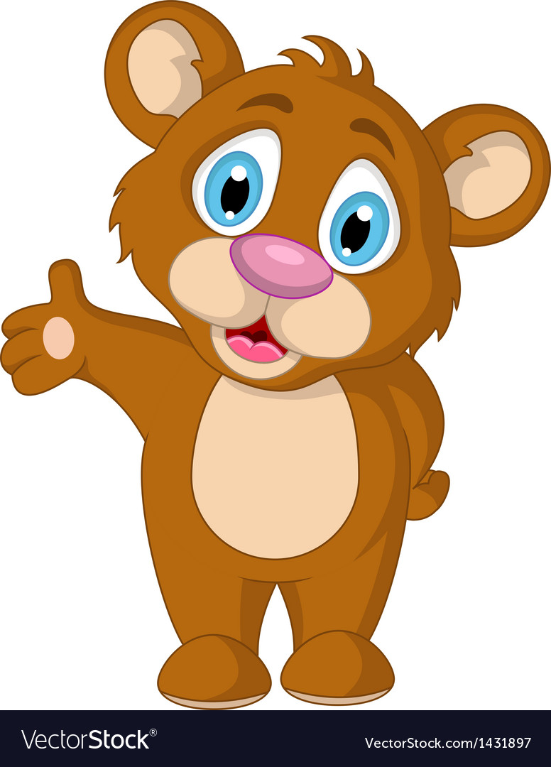 Cute little brown bear cartoon expression vector | Price: 1 Credit (USD $1)