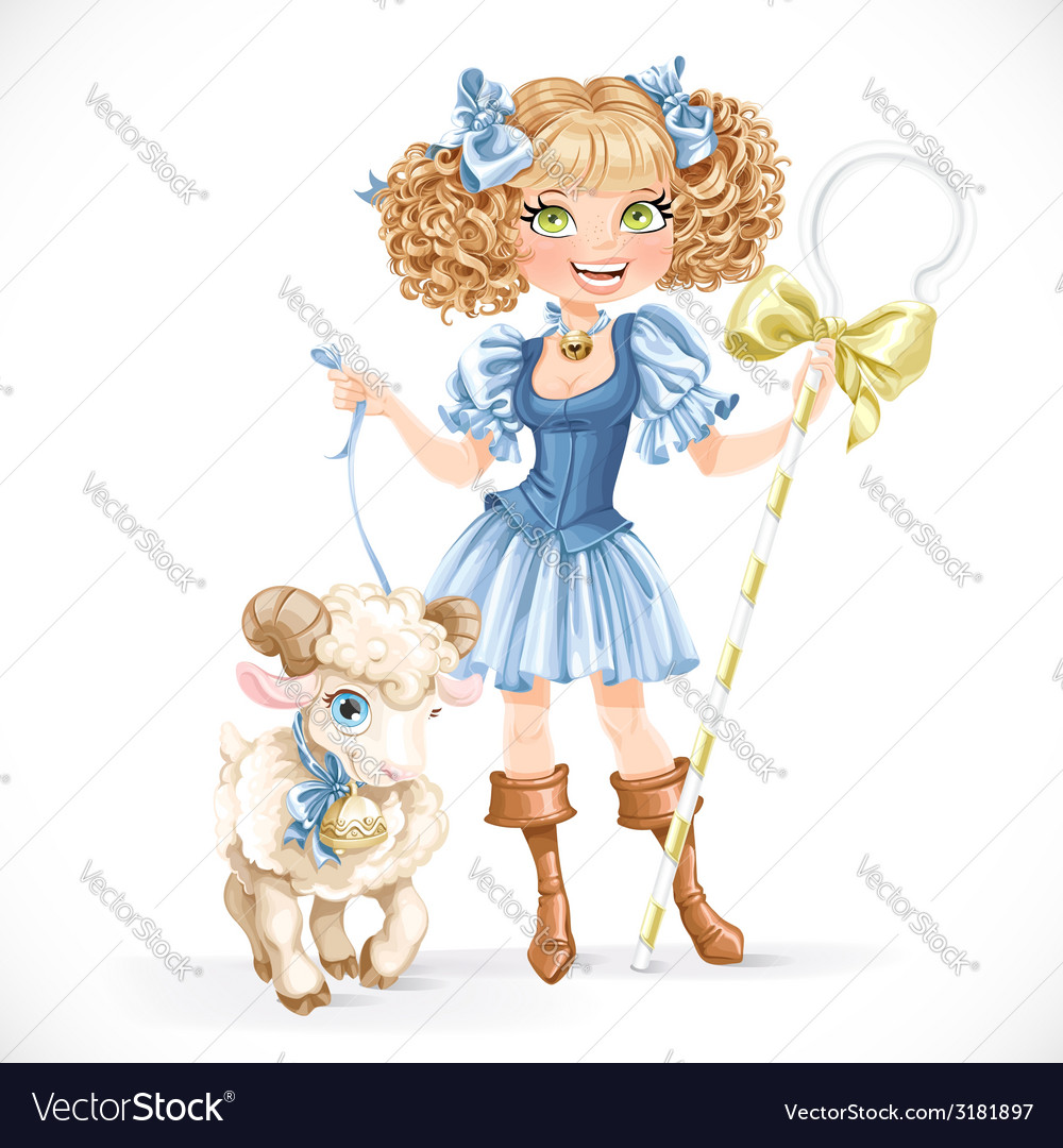 Cute shepherdess with lamb vector | Price: 3 Credit (USD $3)