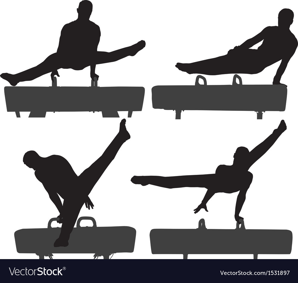 Gymnast on pommel horse silhouette vector | Price: 1 Credit (USD $1)