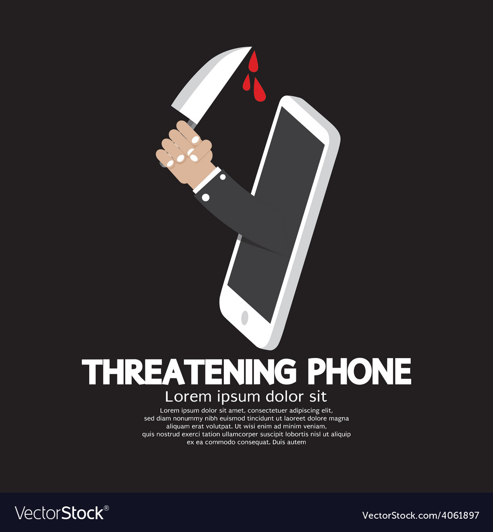Hand with knife threatening phone concept vector | Price: 1 Credit (USD $1)