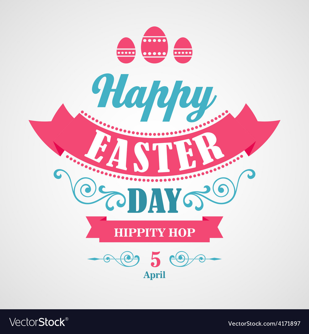 Happy easter typographical background vector   Price: 1 Credit (USD $1)