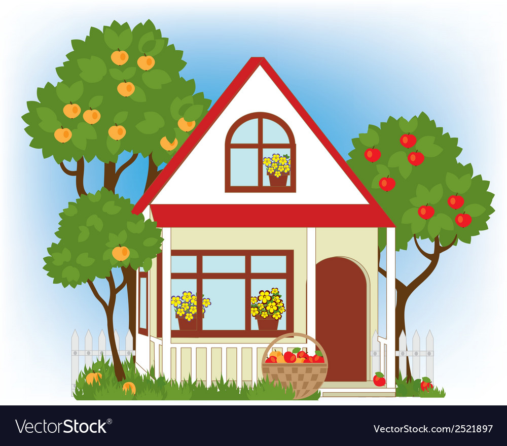 House and apple trees vector | Price: 1 Credit (USD $1)