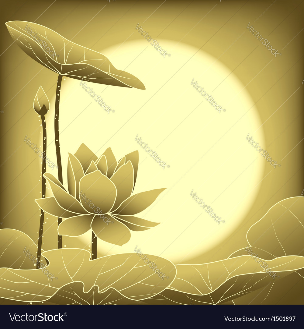 Oriental mid autumn festival lotus flower vector | Price: 1 Credit (USD $1)
