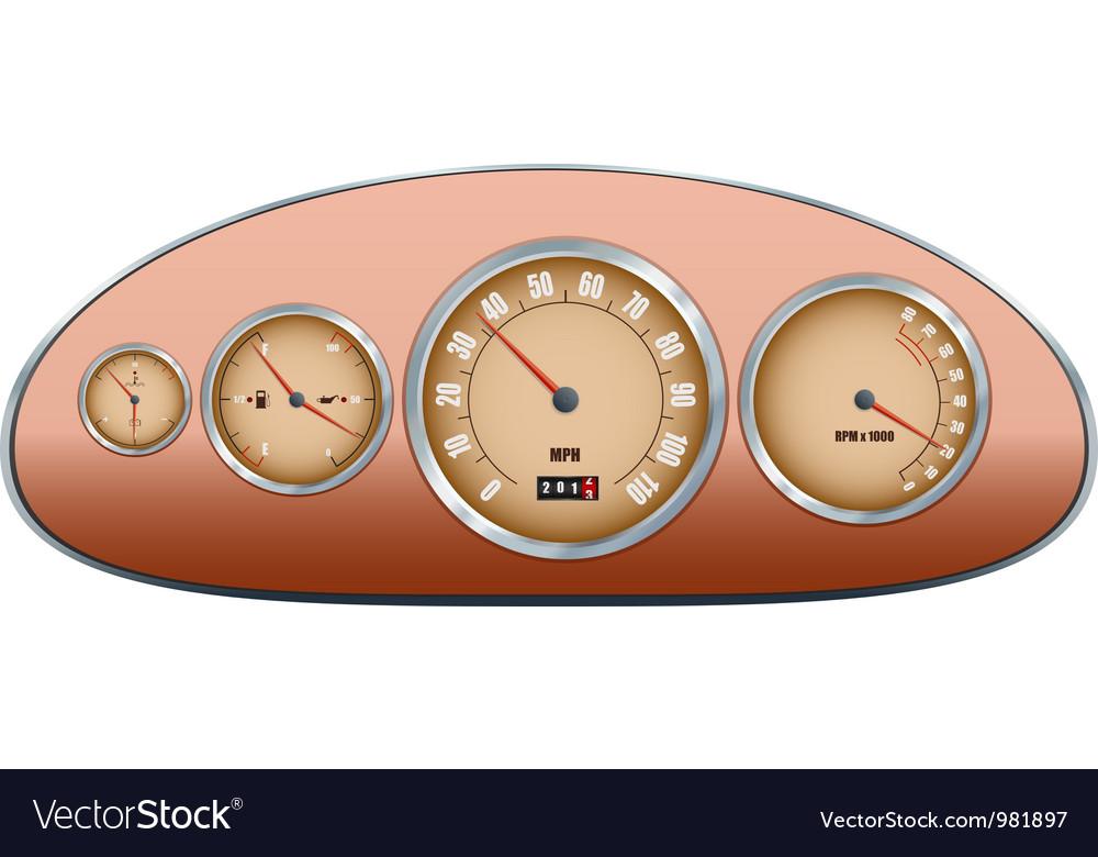 Retro car dashboard vector | Price: 1 Credit (USD $1)