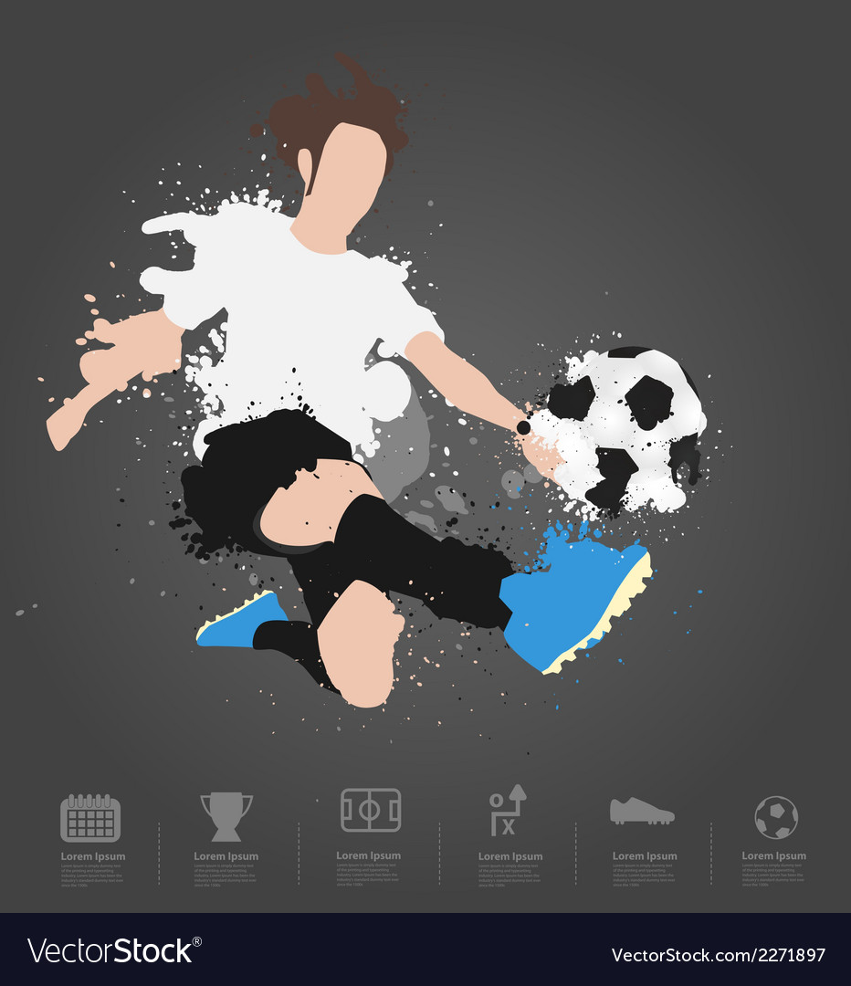 Soccer player kicks the ball vector   Price: 1 Credit (USD $1)