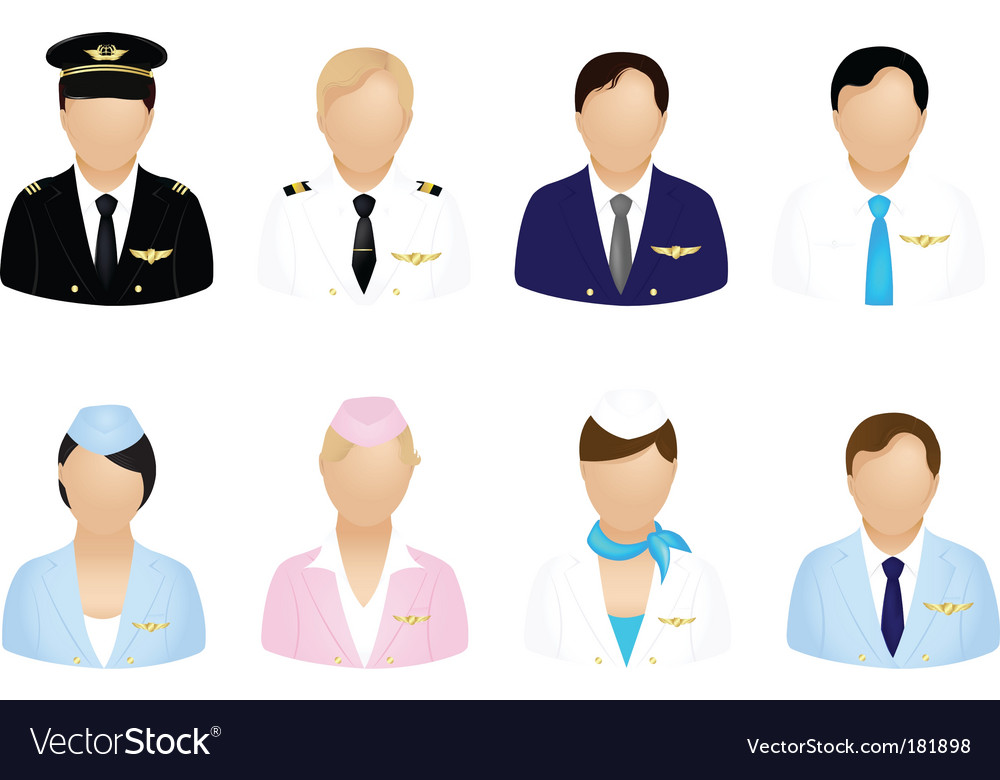 Aircraft crew icons vector | Price: 1 Credit (USD $1)