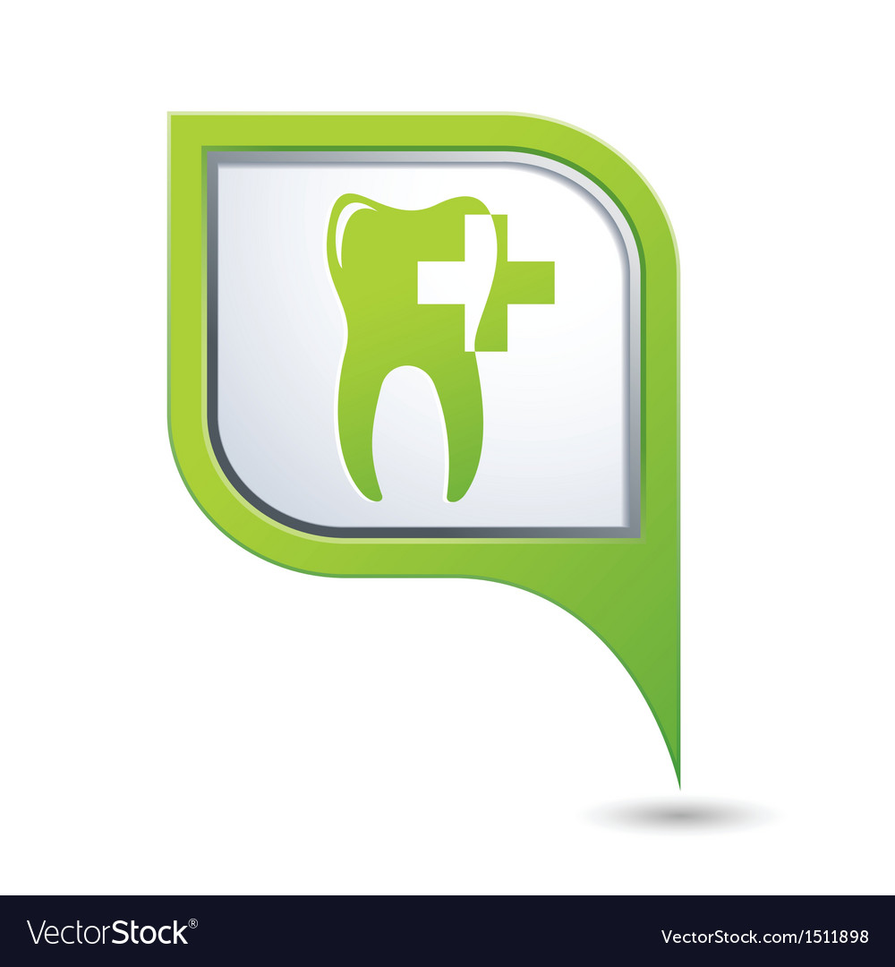 Dental clinic symbol on green map pointer vector | Price: 1 Credit (USD $1)