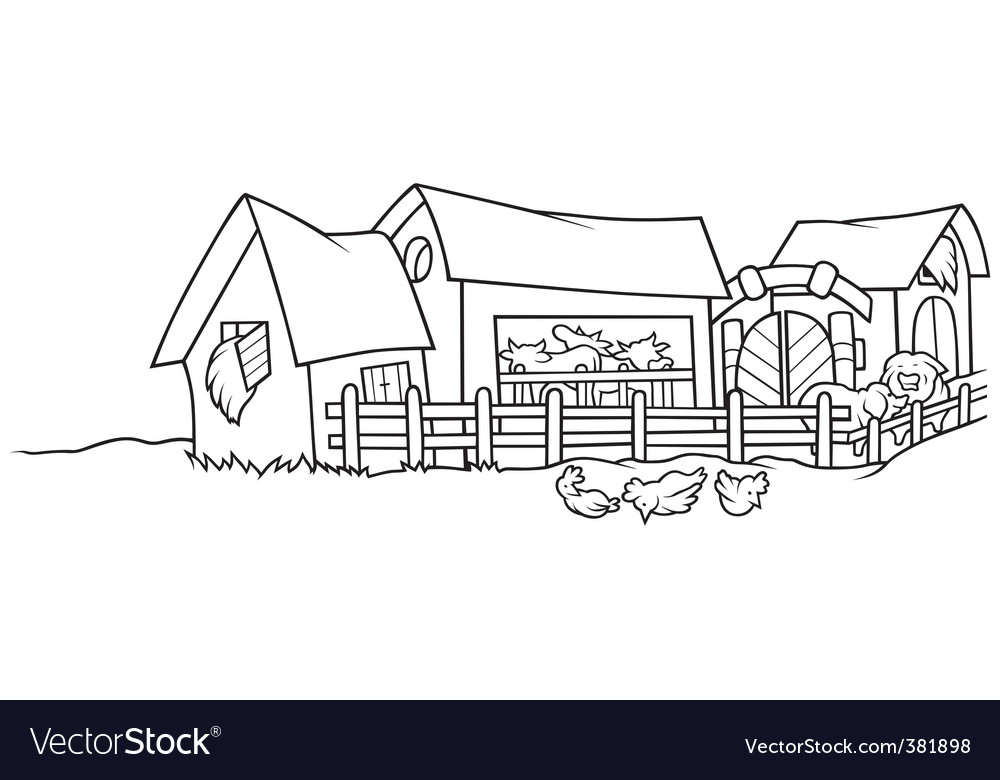 Farm with animals vector | Price: 1 Credit (USD $1)