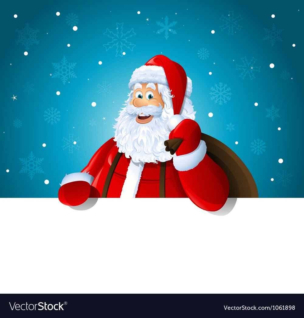 Happy santa claus over white blank vector | Price: 3 Credit (USD $3)