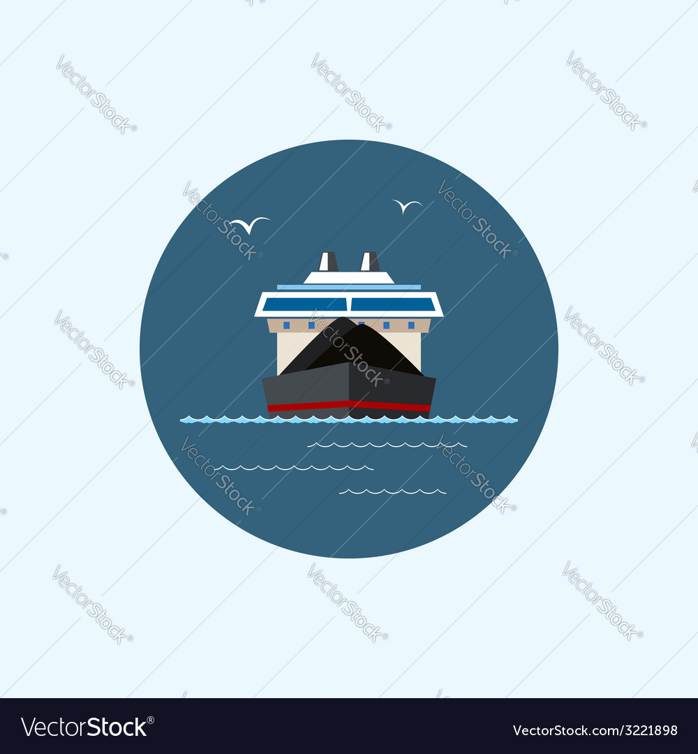 Icon with colored dry cargo ship vector | Price: 1 Credit (USD $1)