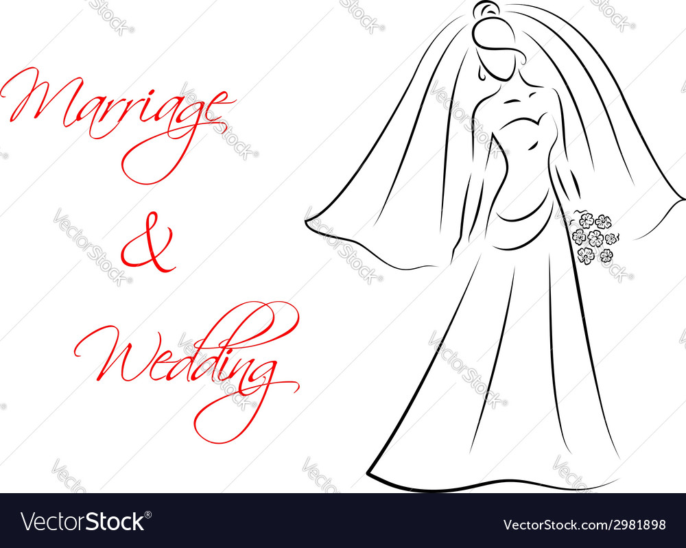 Marriage and wedding theme with bride silhouette vector | Price: 1 Credit (USD $1)