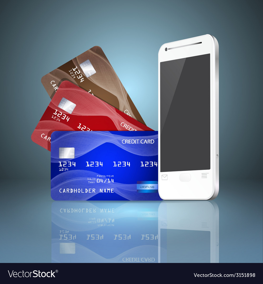 Mobile phone with credit cards on gray background vector | Price: 1 Credit (USD $1)