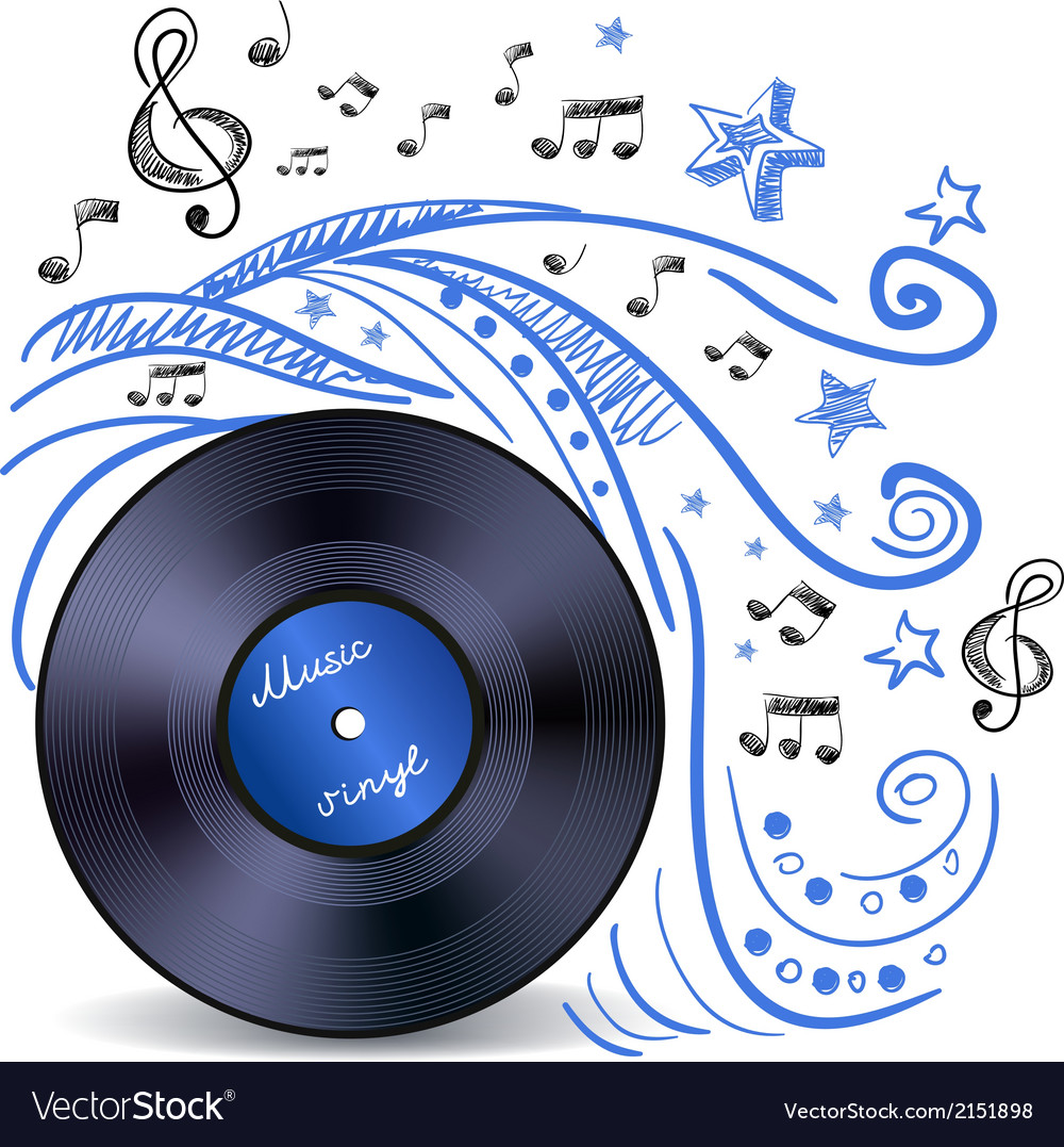 Music doodle vinyl vector | Price: 1 Credit (USD $1)