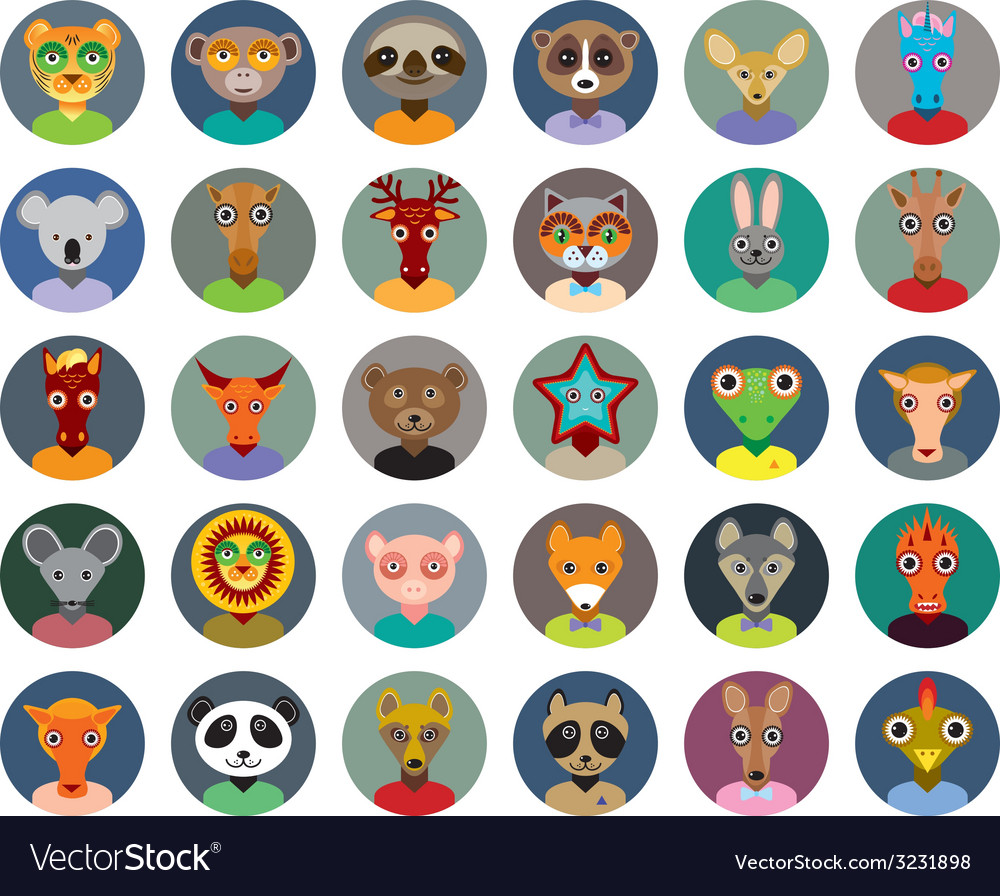 Set of animals faces circle icons set in trendy vector | Price: 1 Credit (USD $1)