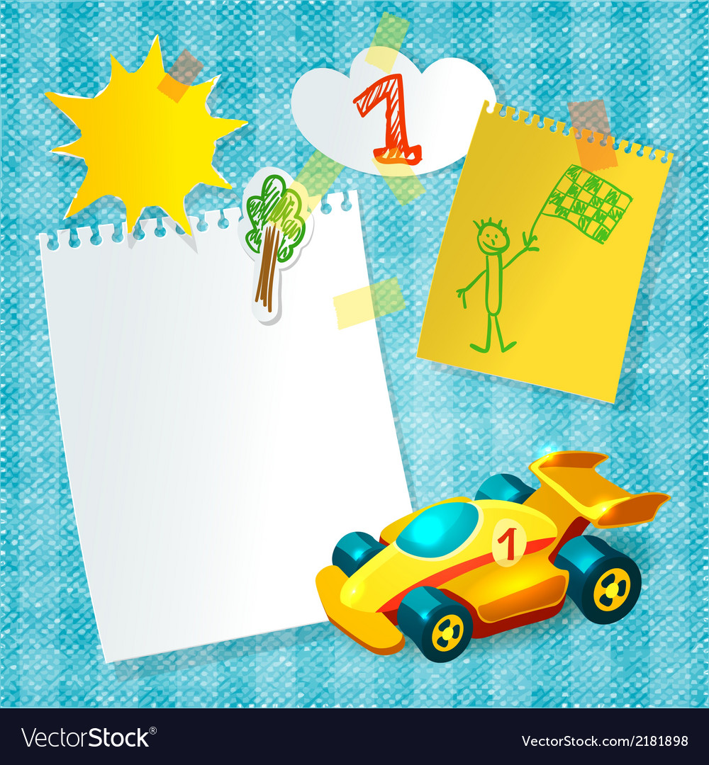 Toy racing car paper postcard template vector | Price: 1 Credit (USD $1)