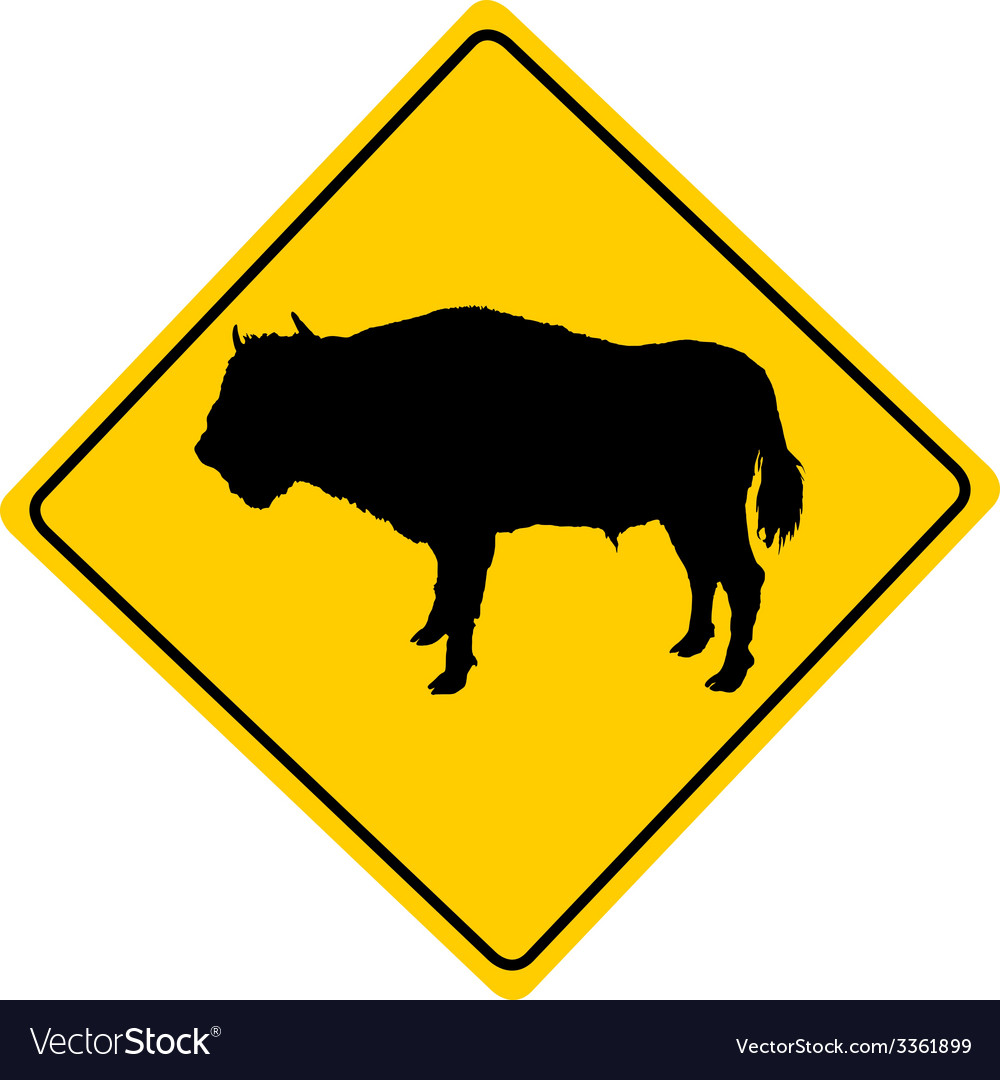 Bison warning sign vector | Price: 1 Credit (USD $1)