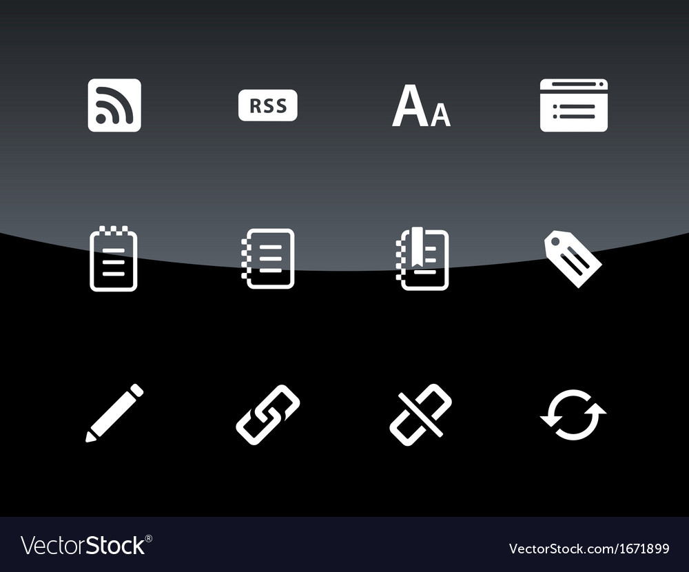 Blogger icons on black background vector | Price: 1 Credit (USD $1)