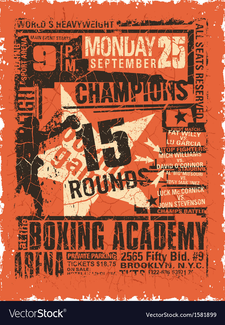 Boxing match vintage poster vector | Price: 1 Credit (USD $1)
