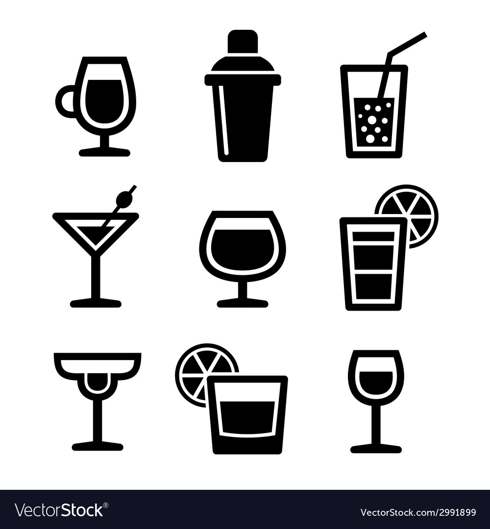 Cocktail icons set vector | Price: 1 Credit (USD $1)