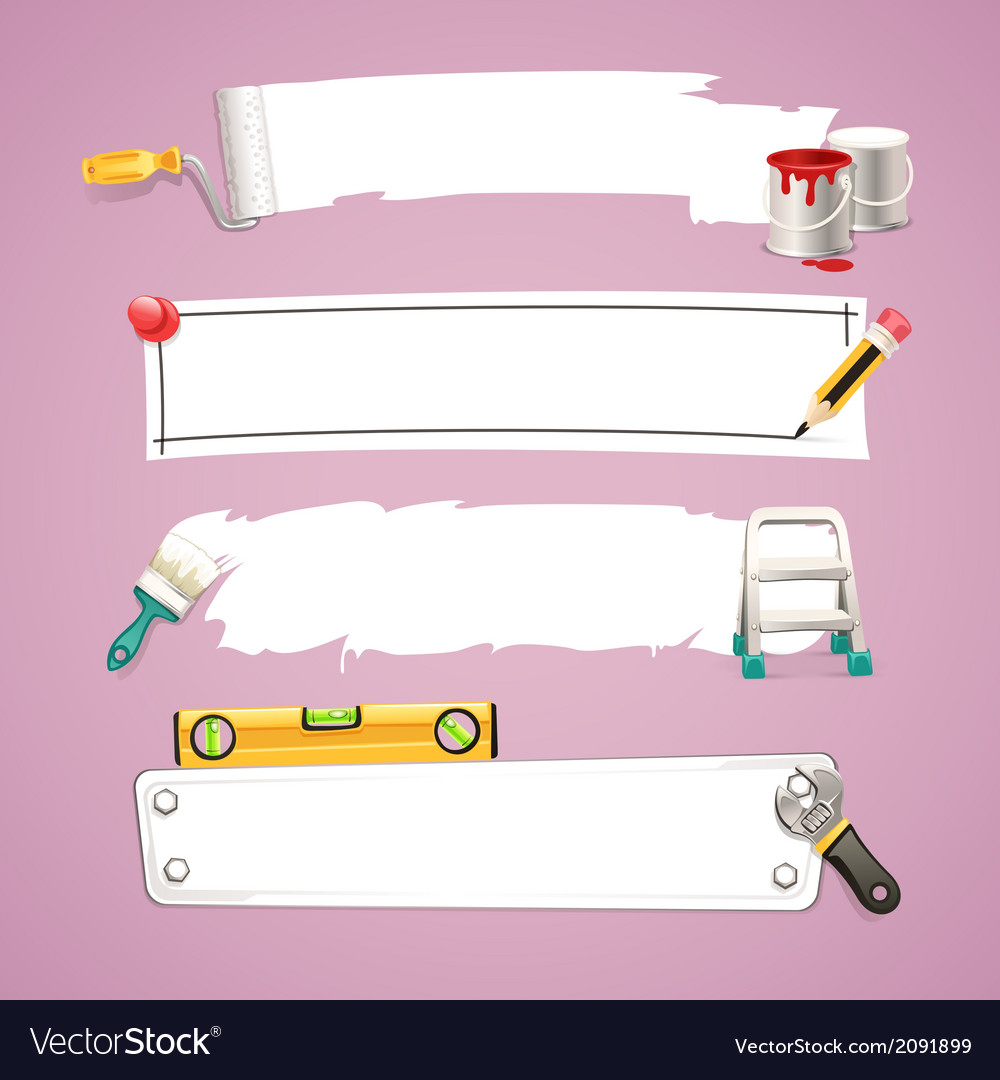 Construction tools design elements set vector | Price: 1 Credit (USD $1)