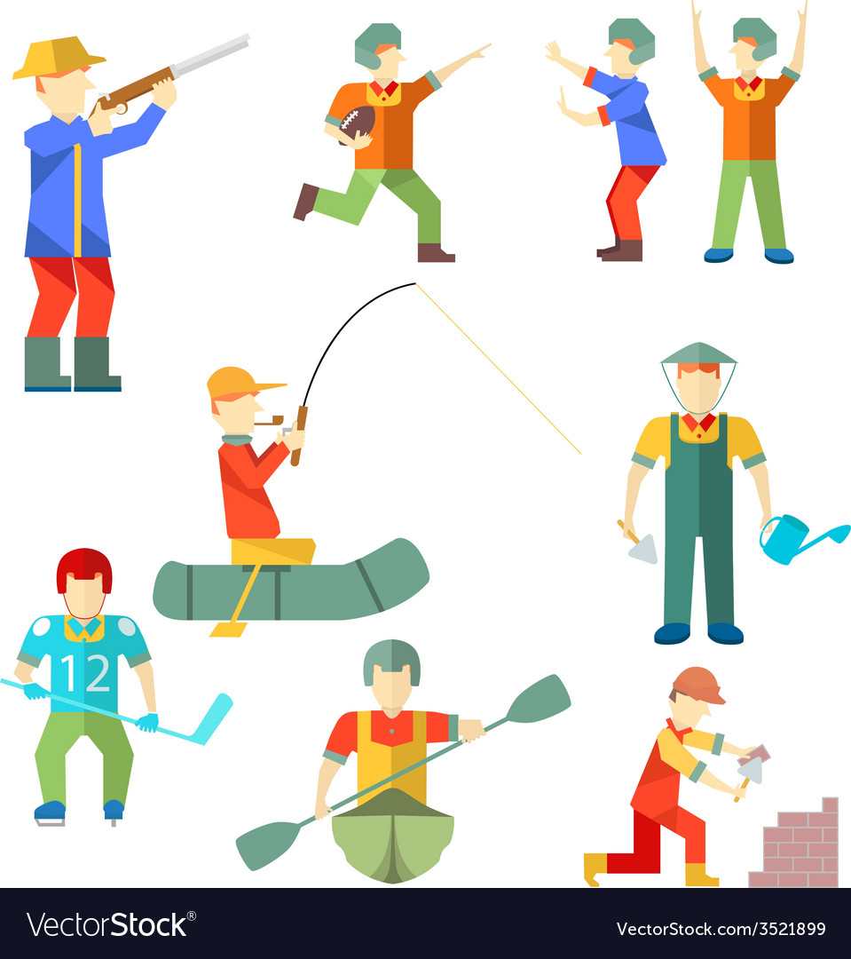 Flat icon people of different professions vector | Price: 1 Credit (USD $1)