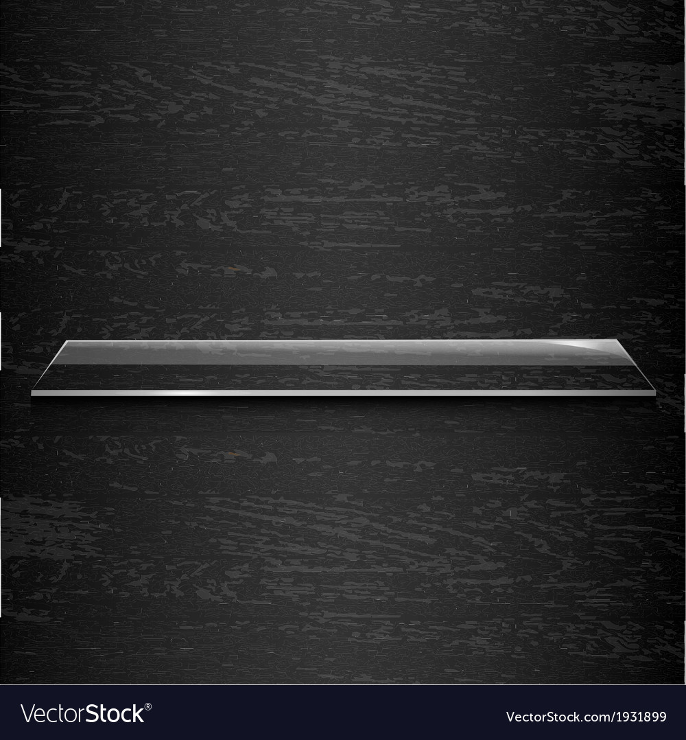 Glass shelf on black wooden background vector | Price: 1 Credit (USD $1)