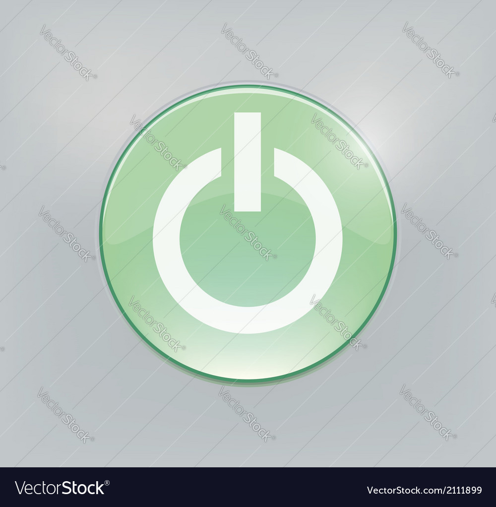 Green glowing power on or off button vector | Price: 1 Credit (USD $1)