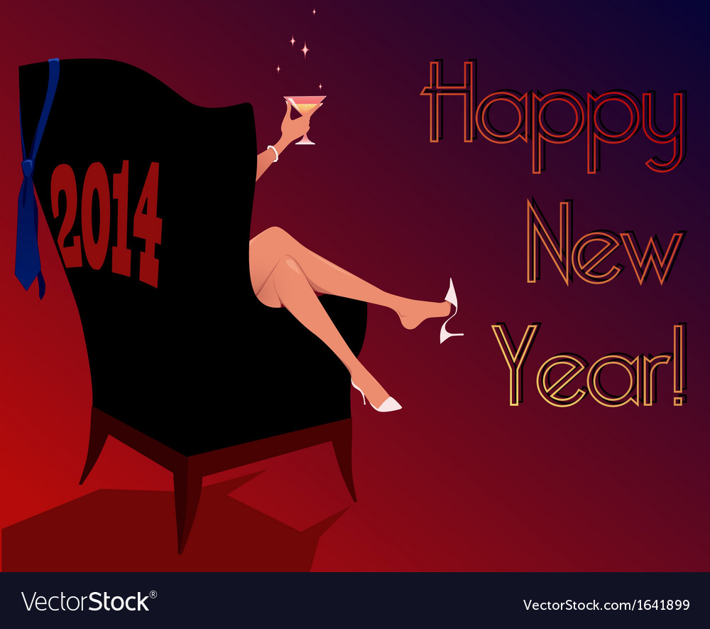 Happy new year 2014 greeting card vector | Price: 1 Credit (USD $1)