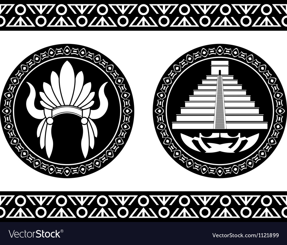 Mayan pyramid and headdress vector | Price: 1 Credit (USD $1)
