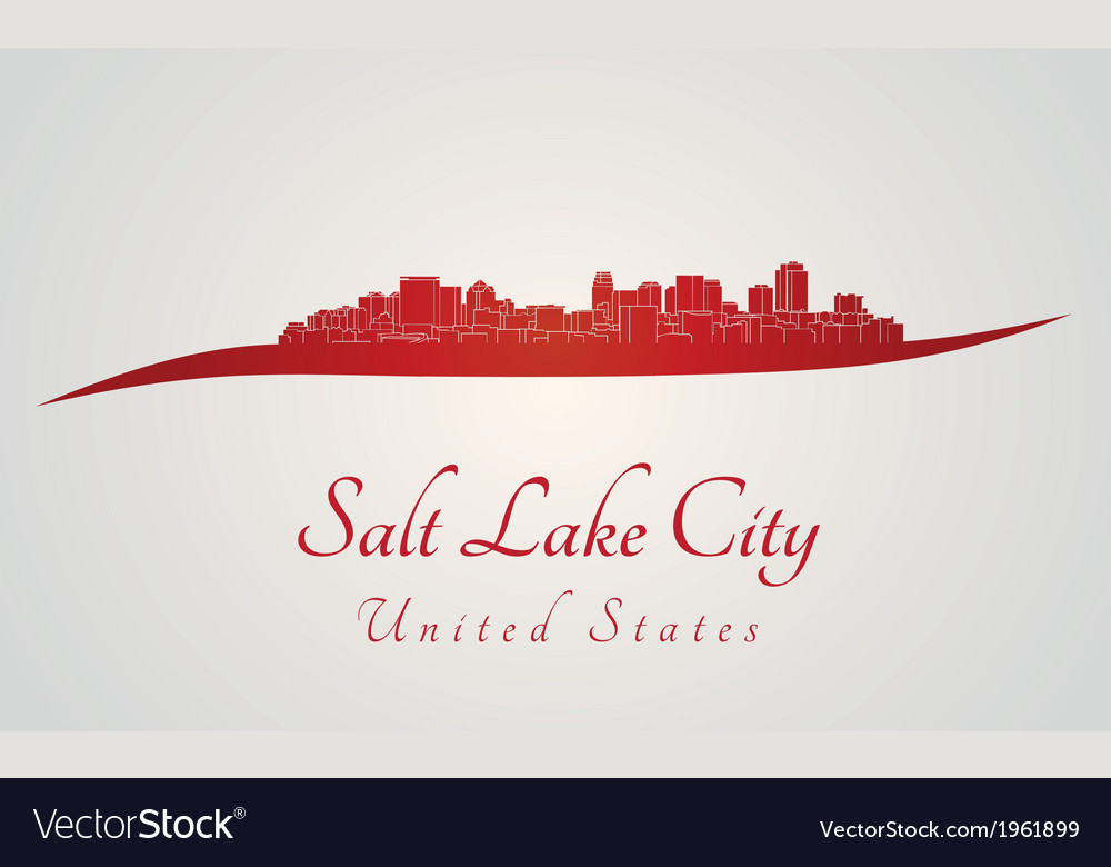Salt lake city skyline in red vector | Price: 1 Credit (USD $1)