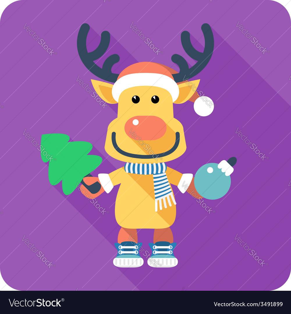 Santas reindeer icon flat design vector | Price: 1 Credit (USD $1)