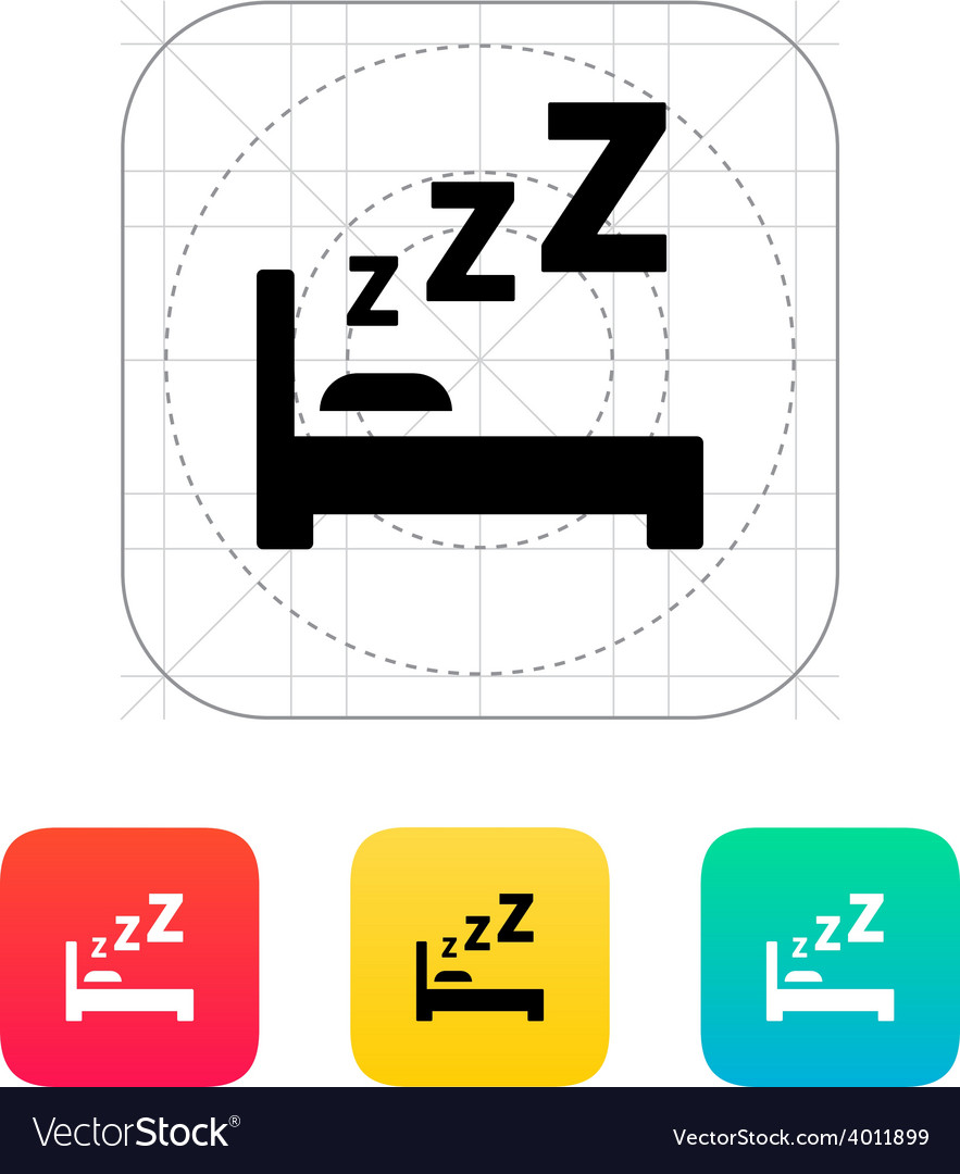 Sleeping in bed icon vector | Price: 1 Credit (USD $1)