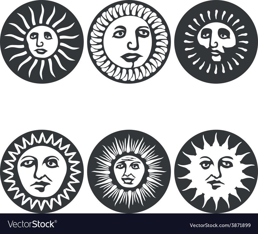 Sun faces vector | Price: 1 Credit (USD $1)
