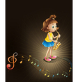 A talented young girl with a saxophone vector