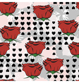 Seamless pattern with roses and heart shapes vector