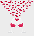 Happy valentines day two glasses of red wine with vector